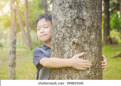 Young Asian boy hugging tree in forest