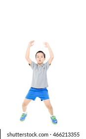 young asian boy jumping jack fitness on white background