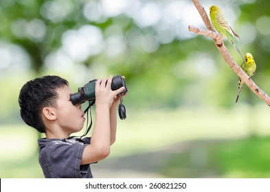 Young Asian boy looking birds by binoculars in forest