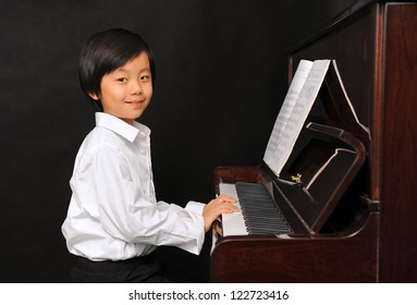 All clear, asian pianist young boy