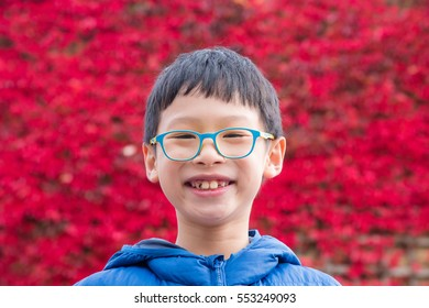 Young asian boy smiles with red leave in background