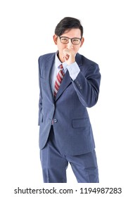 Young asian business men portrait posing in suit  over white background