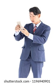 Young asian business men portrait holding phone in suit over white background