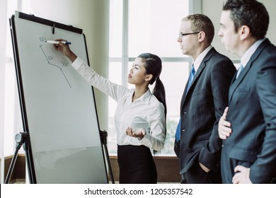 Young Asian business woman drawing growth diagram on flipchart for two partners. Business group analyzing sales forecast. Business meeting and analytics concept