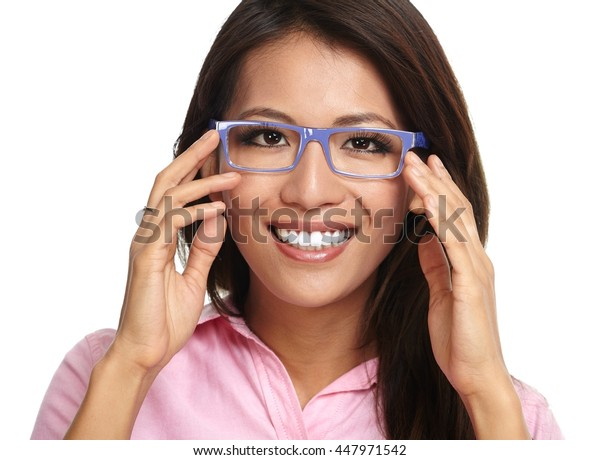 Young asian business woman in eyeglasses.