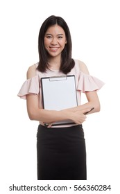 Young Asian business woman hold clipboard  isolated on white background.
