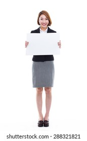 Young Asian business woman holding a blank banner isolated on white background.