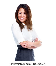 Young asian business woman. Isolated on white background.