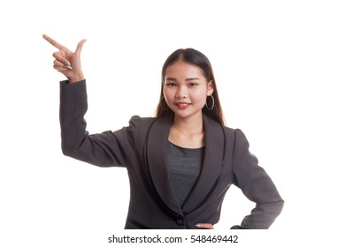 Young Asian business woman smile and point  isolated on white background.