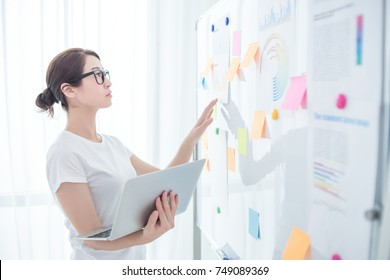 a young asian business woman working against white board