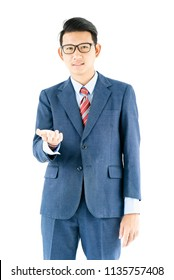 Young asian businessman portrait in suit and wear glasses over white background