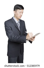 young asian businessman writing his files tight in his arms, isolated white background