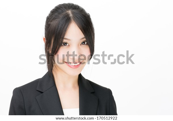 young asian businesswoman close up on white background