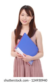 Young asian businesswoman holding file document isolated on white background