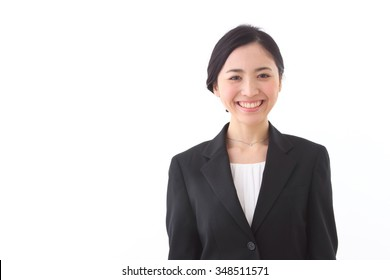 young asian businesswoman portrait isolated on white background