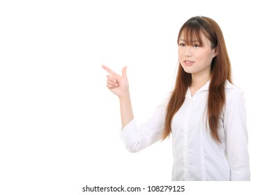 young asian businesswoman rise hand and pointing