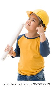 Young asian child construction Worker Holding equipment and think about, isolated on white background