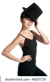 A young asian dancer poses with a top hat against white background