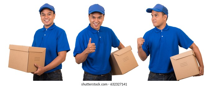 young asian delivery man blue uniform stock photo edit now
