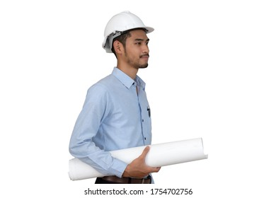 Young asian engineer portrait holding blueprints isolated on white background.