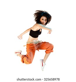 Young asian female r&b dancer isolated on white.
