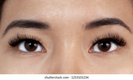 young asian girl with extensible eyelashes close-up