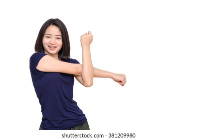 Young Asian girl smiling between exercising over white