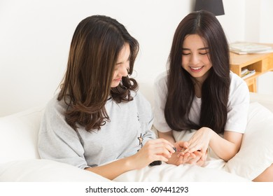 Young asian teen are