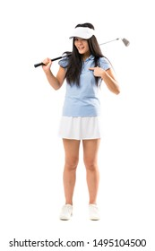 Young asian golfer girl over isolated white background with surprise facial expression