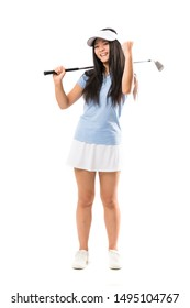 Young asian golfer girl over isolated white background celebrating a victory