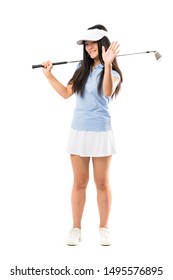 Young asian golfer girl over isolated white background saluting with hand with happy expression