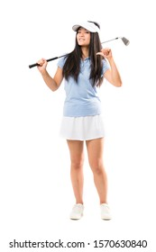 Young asian golfer girl over isolated white background proud and self-satisfied