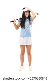 Young asian golfer girl over isolated white background with surprise and shocked facial expression