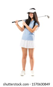 Young asian golfer girl over isolated white background pointing to the side to present a product