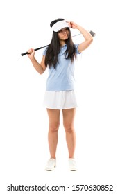 Young asian golfer girl over isolated white background having doubts and with confuse face expression