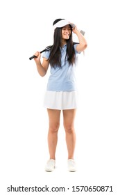 Young asian golfer girl over isolated white background has realized something and intending the solution