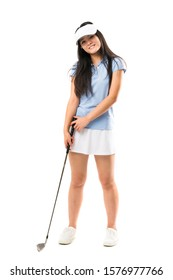 Young asian golfer girl over isolated white background