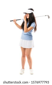 Young asian golfer girl over isolated white background whispering something
