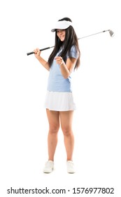 Young asian golfer girl over isolated white background points finger at you with a confident expression