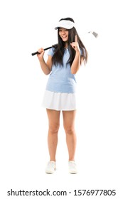 Young asian golfer girl over isolated white background pointing up a great idea