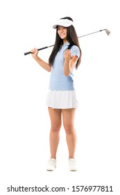 Young asian golfer girl over isolated white background inviting to come with hand. Happy that you came
