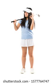Young asian golfer girl over isolated white background showing ok sign with fingers