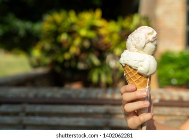 Young Asian hand holding a double scoop ice cream
