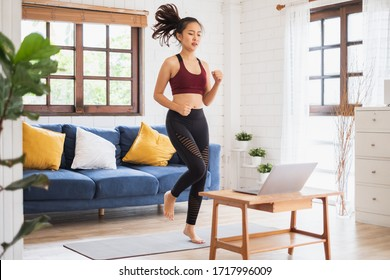 Young Asian healthy woman workout at home, exercise, fit, doing yoga, home fitness concept