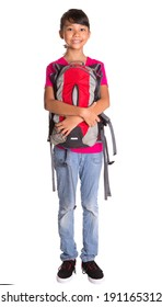 A young Asian Malay girl with a backpack over white background