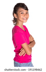 Young Asian Malay girl in pink tshirt and a pair of blue denim over white background
