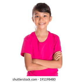 Young Asian Malay girl in pink tshirt  over white background