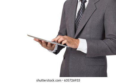 young asian male startup entrepreneur businessman wearing gray suit working with digital tablet touchpad over white background