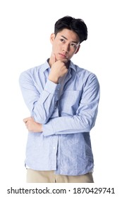 Young Asian man isolated on white background.
