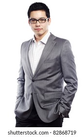 Young asian man looking confident in business attire